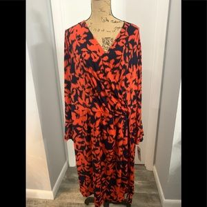 London Times Navy and Coral Jersey Plus Size Dress